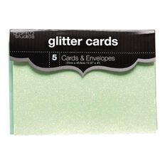 Grants Studio Glitter Cards & Envelopes Aqua 15cm x 10.5cm 5 Pack