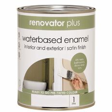 Renovator Plus Water Based Enamel Satin Paint Perfect White 1L