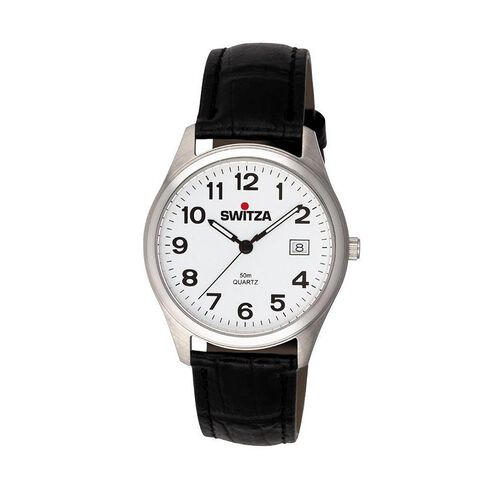 Switza Men's Stainless Steel Watch with Black Strap