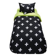 Living & Co Kids Comforter Set Crosses 4 Piece Single