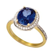 1/4 Carat of Diamonds 9ct Gold Synthetic Sapphire Ring