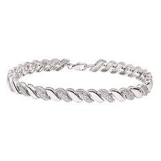 Sterling Silver Diamond Swirl Bracelet 19.5cm
