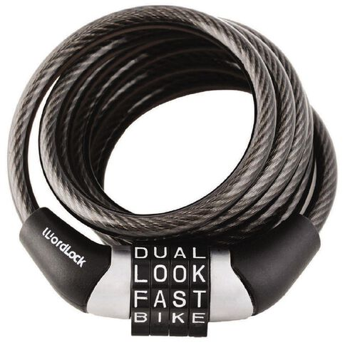 Wordlock Cable Bike Lock 4ft / 6mm Black