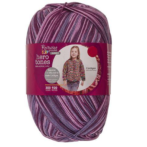Knitwise Pricewise Yarn Hero Tones Jumbo 8-Ply Violet Fields 300g