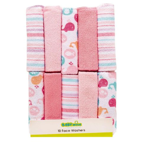 Lullaboo Facewasher Set Pink 10 Pack
