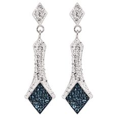 J Lili Sterling Silver Swarovski Crystals Blue Drop Earrings