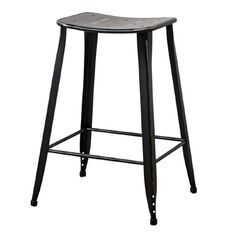 Solano Stool Distressed Paint Matte Black 66cm