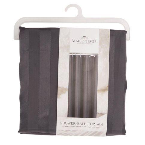 Maison d'Or Shower Curtain Stripe Coal 180cm x 180cm