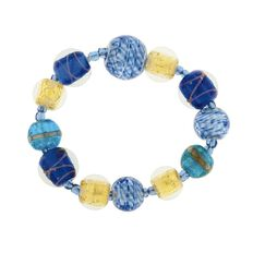 Blue And Gold Murano Glass Bracelet