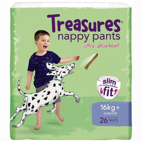 Treasures Slim Nappy Pants Junior 16kg+ 26 Pack