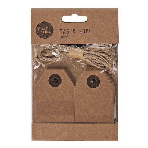 Craftwise Kraft Tags and Rope 20 Pieces