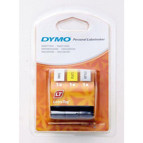 Dymo Letratag Tape Starter Kit 1x Paper 1xPlastic 1xMetalic Silver