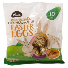 Nice Choc Marshmallow Eggs Foiled 10 Pack Assorted Foil Colours