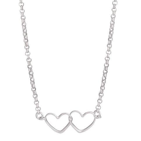 Sterling Silver 2 Heart Chain 45cm