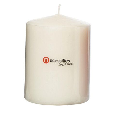 Necessities Brand Pillar Candle Cream 7.5cm x 10cm