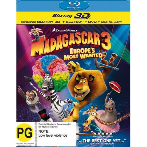 Madagascar 3 Europes Most Wanted Blu-ray + 3D Blu-ray + DVD 3Disc