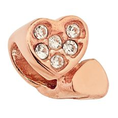 Ane Si Dora Sterling Silver Rose Gold Plated CZ Double Heart Charm