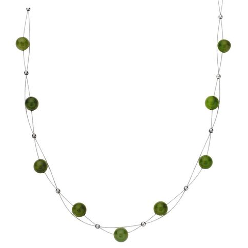 Necklace Sterling Silver And Jade RD 5mm Bead On Wire - NJS004