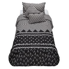 Living & Co Kids Comforter Set Jackson Black 4 Piece Single