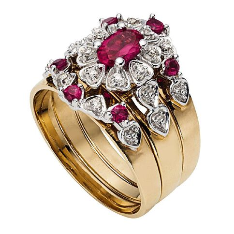 9ct Gold Synthetic Ruby Trio Ring Set