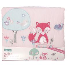Rocco And Tolly Forest Friends Pink Quilt & Bumper Set