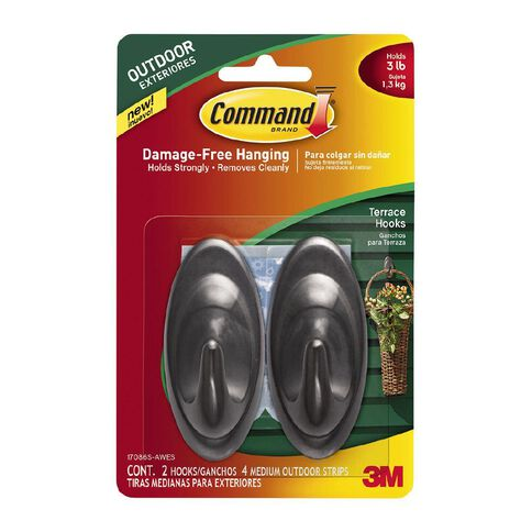 Command Outdoor Hooks with Foam Strips Slate Terrace Medium 2 Hooks