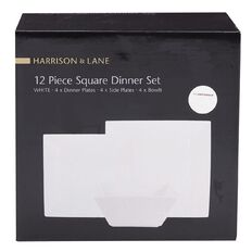 Harrison & Lane Square Dinner Set 12 Piece White