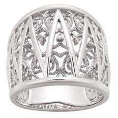 Sterling Silver Diamond Art Deco Filigree Ring