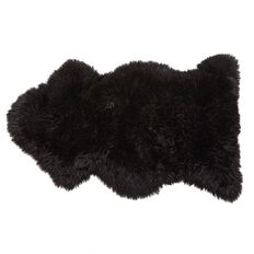Rug Sheepskin Long Wool Black
