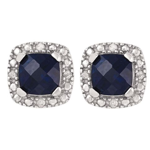 Sterling Silver Diamond and Created Sapphire Cushion Cut Earrings