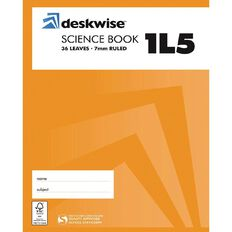 Deskwise Exercise Book 1L5 Science 7mm Ruled 36 Leaf