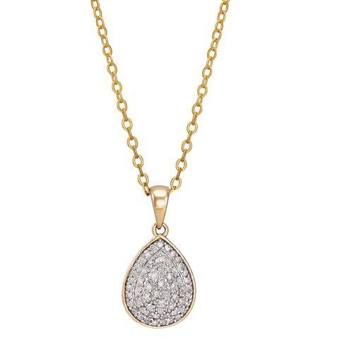 1/4 Carat of Diamonds 9ct Gold Diamond Pear Shape Pendant