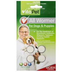 Vitapet All Wormer Tablets Dogs And Puppies 4 Pack