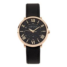 Astina Ladies' Rose Gold Stainless Steel Watch with Black Dial