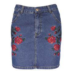 Garage Embroidered Denim Skirt