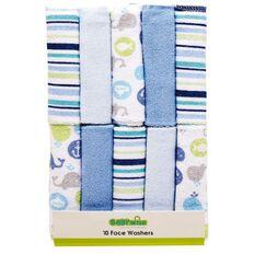 Lullaboo Facewasher Set Blue 10 Pack