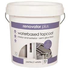 Renovator Plus Interior/Exterior Semi Gloss Paint Perfect White 10L