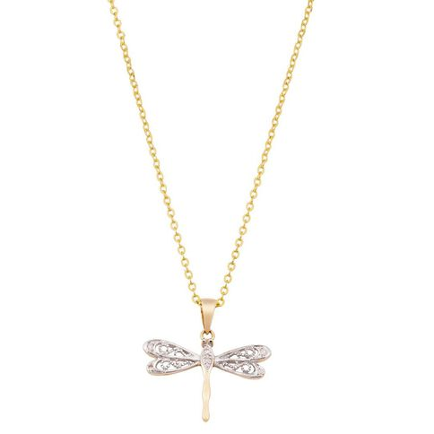 9ct Gold Diamond Set Dragonfly Pendant