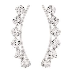 Sterling Silver CZ Climber Earrings