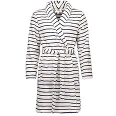 H&H Women's Coral Fleece Short Stripe Robe