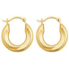 9ct Gold Round Large Plain Hoop Earrings