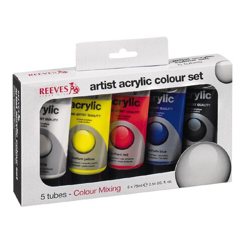 Reeves Artist Acrylic Set Tubes 5 x 75ml