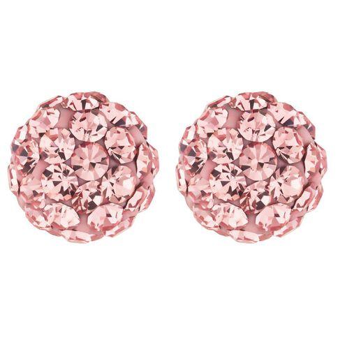 Sterling Silver Pink Crystal Stud Earrings 8mm