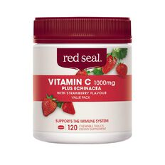 Red Seal Vitamin C with Echinacea Strawberry Chewable 1000mg 120s