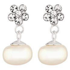 Sterling Silver Freshwater Pearl Crystal Flower Drop Earrings