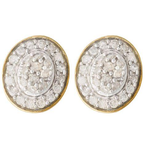 1/4 Carat of Diamond 9ct Gold Diamond Oval Shape Earrings