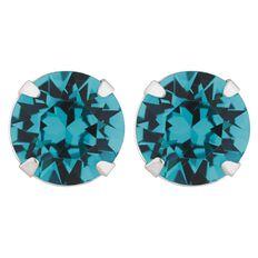 J Lili Sterling Silver Swarovski Green Crystals Earrings 7mm
