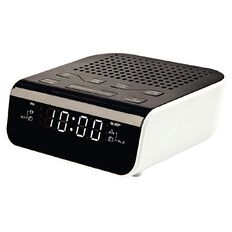 Necessities Brand Alarm Clock Radio with USB Charging White/Black