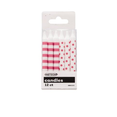 Meteor Candles Dots & Stripes Pink 12 Pack