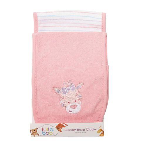 Lullaboo Baby Burp Cloths Pink 2 Pack